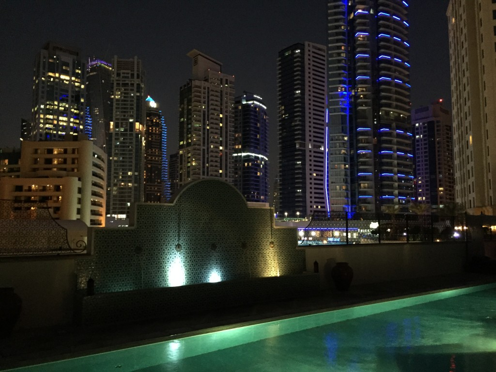 Ritz Carlton Spa Pool - www.miss-phiaselle.com - Dubai - Spa - Pool - Night - Skyline